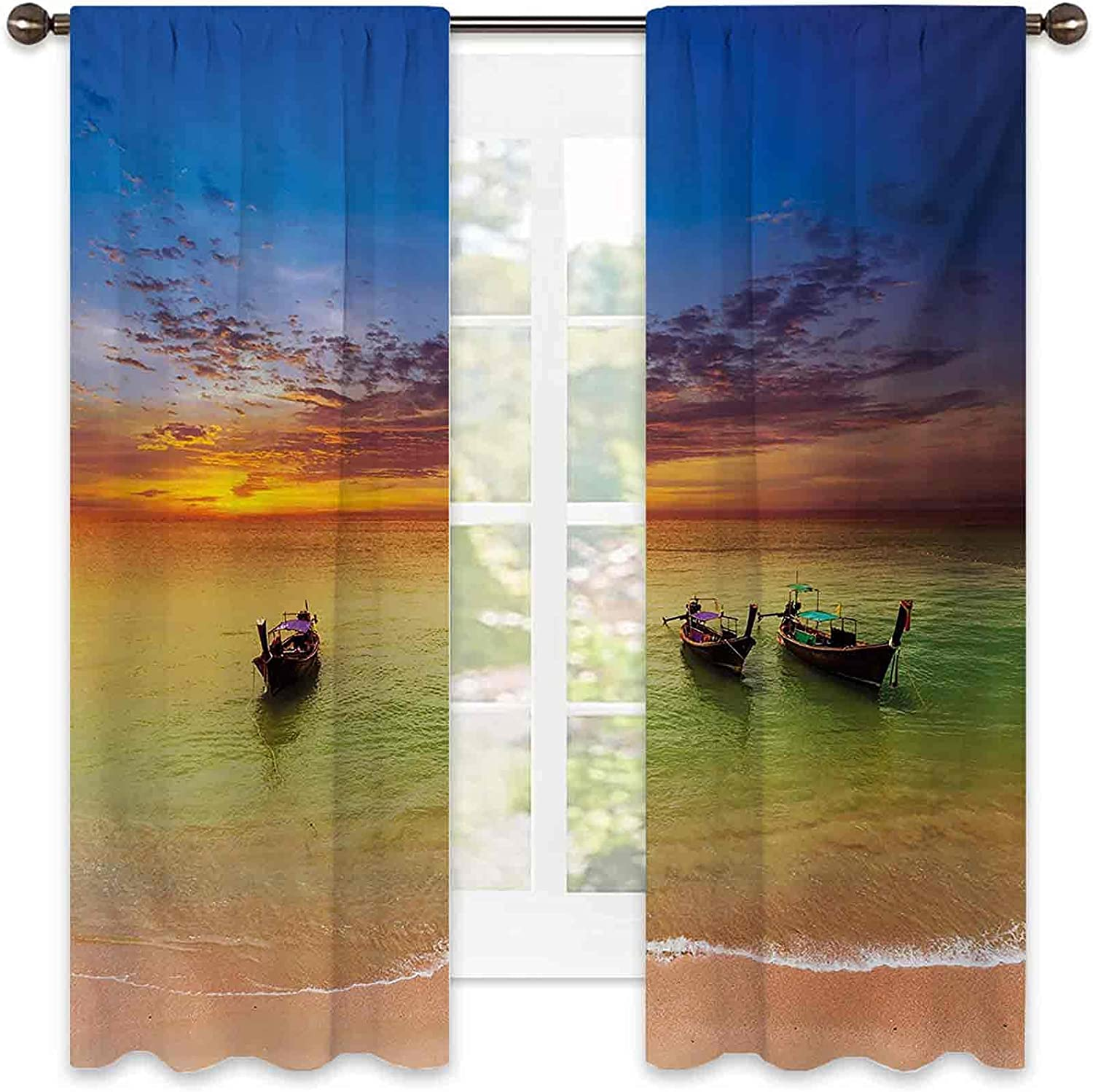 Excellence 90% Blackout Tropical Curtains Traditional Thailand Boats Oc in OFFicial site