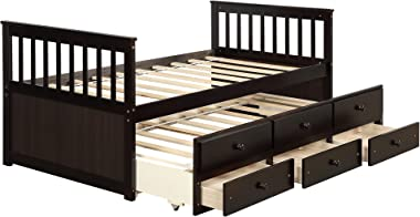 Twin Captain's Bed Storage Daybed with Trundle and Drawers for Kids Teens and Adults, Espresso