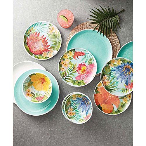 Melamine Dinnerware Tropical Design Set of 18 Pieces (Blue)