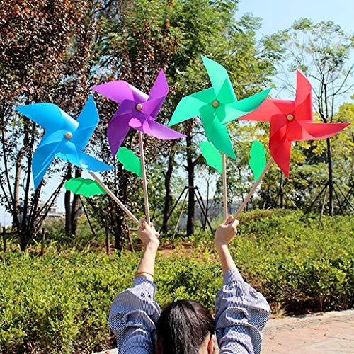 Girandola a vento in plastica, con manico in legno, giocattolo per bambini, per giardino, cortile, feste, decorazione per esterni