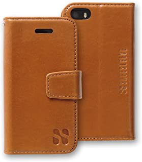 SafeSleeve EMF Protection Anti Radiation iPhone Case: iPhone SE and iPhone 5/5s RFID EMF Blocking Wallet Cell Phone Case (Leather)