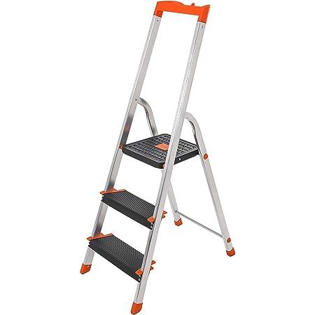 Tragkraft 150 kg sicher faltbar strapazierf/ähig matt 4-stufige Leiter mit Sicherheits-Handlauf Sicherheit mit rutschfester Stufe