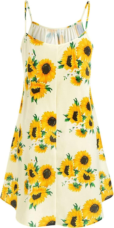 Fankle Women Summer Spaghetti Strap Solid Color Crew Neck Sleeveless Casual Mini Dress