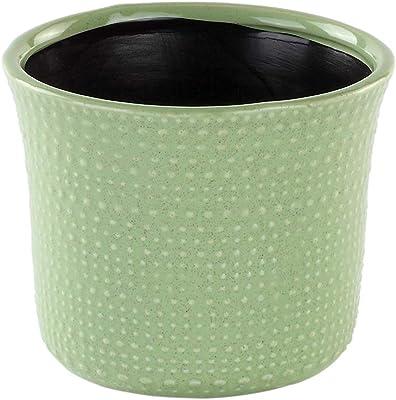 Napco 22089 Ceramic Textured Hobnail Planter/Cache Pot, Green