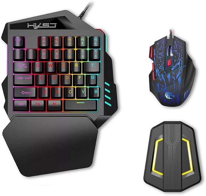 Tastiera da gioco con una mano 35 tasti retroilluminazione a led+ mouse da gioco hxsj j50 UIX0116965411024BX
