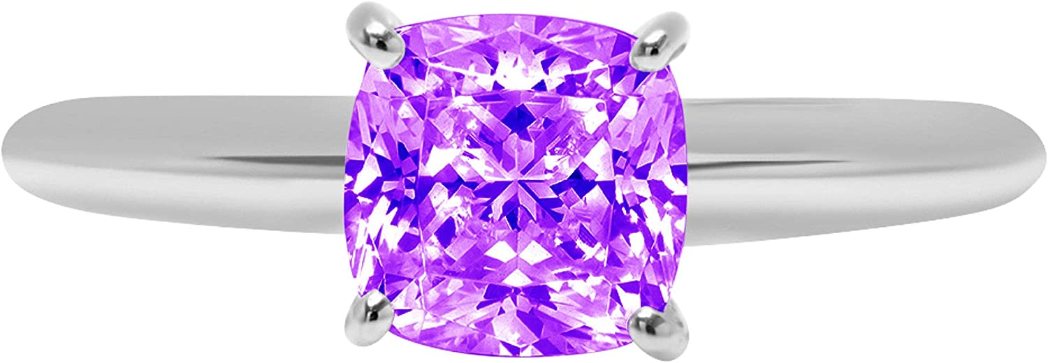 1.50 ct Brilliant Cushion Cut Solitaire Natural Purple Amethyst Gem Stone Ideal VVS1 4-Prong Engagement Wedding Bridal Promise Anniversary Ring Solid Real 14k White Gold for Women