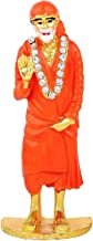 STYLE OK Gold Plated Brass American Diamond (CZ) Studded Deep Orange Sai Baba Blessing Mode Hand Idol Statue Figurine Deco...