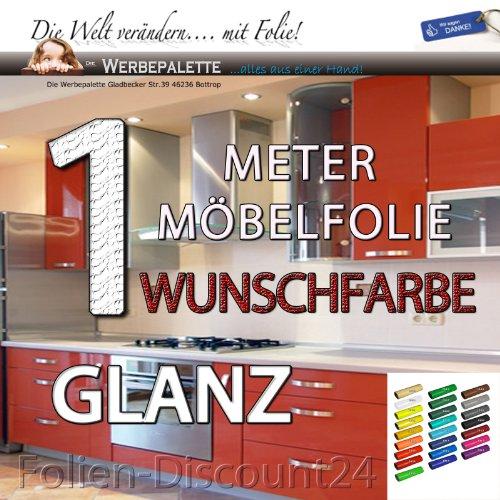 (EUR 6,20 / Quadratmeter) Möbelfolie Weiss 1 M x 61cm Hochglanz Deko Plotterfolie +Wunschfarbe+ Selbstklebend in Weis
