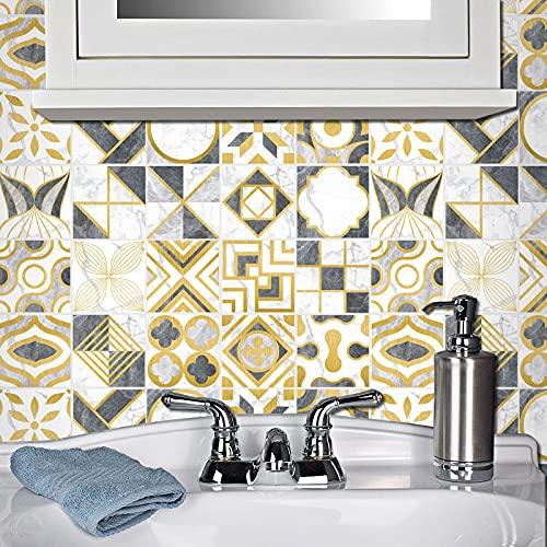Adhesivo de tela para cuarto de baño y cocina, 20 piezas autoadhesivas de Mosaico, azulejos de pared, impermeable, papel de azulejos, bricolaje para decoración del hogar (20 x 20 cm)