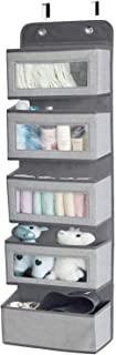 Over The Door Hanging Organizer Storage with 5 Large Pockets,Wall Mount Storage with Clear Windows and 2 Metal Hooks for P...