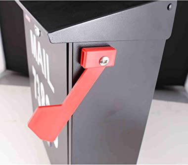 Wall Mount Locking Mailbox - Black Large Capacity Security Mailbox - Waterproof Stainless Steel Vertical Drop Mail Box Outdoo