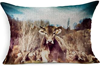Ahawoso Linen Throw Pillow Cover King 20x36 Oil Painting Big Herd Tagged Cows No Against Animals Wildlife Digital Day People Agricultural Agriculture Black Pillowcase Home Decor Cushion Pillow Case