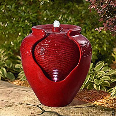 "Peaktop YG0034AZ Outdoor/Indoor Garden Water Glazed Pot Floor Fountain With LED Light, 17"" Height, Red"