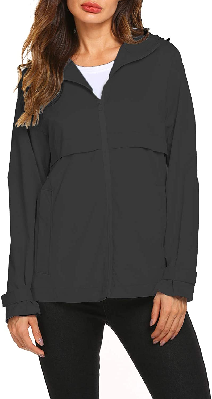 Hount Womens Lightweight Waterproof Rain Jacket Active Outdoor Raincoats with Pockets