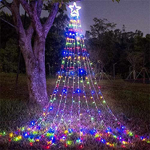 XYXY Decoration Star Lights Outdoor,300 LED Christmas Tree Topper String Lights with 8 Lighting Modes Fairy String Light for Halloween Christmas New Year Holiday Garden Yard