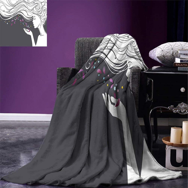 VANKINE Modern Throw Blanket Madam Butterfly Inspired Spiritual Girl Blowing Petals Mother Earth Illustration Velvet Plush Throw Blanket Grey White,Fashion Blanket