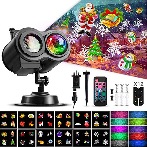 Christmas Ocean Wave Snowflake Light Projector, ACVCY Outdoor Waterproof 2-in-1 Moving Patterns Rotating LED Projection Lamp for Christmas Halloween Party Garden Decorations - 12 Slides 10 Colors