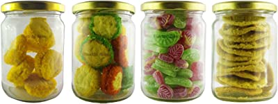 BMG Import Export Set of 4 Spice Glass Storage Jar for Masalas, Dry Fruits, Glass Storage Jar and Container, Kitchen Storage Container Box with Air Tight Lid Jar and Container 550ml