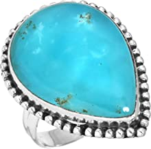 Solid 925 Sterling Silver Women Jewelry Natural Smithsonite Gemstone Ring Size 7.5
