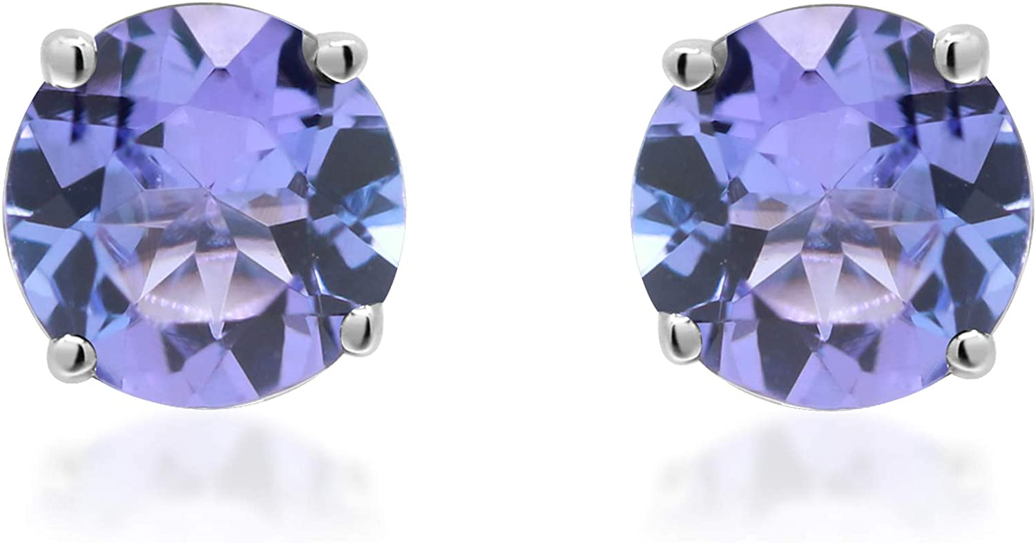 Gin & Grace 14K White Gold Stud Earring with Genuine Tanzanite Daily Work Wear Jewelry for Women Gifts for Her