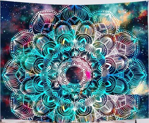 Amiiba Mandala Bohemian Wandteppich Sternenfeld & bunte Galaxie Wandbehang abstrakte antike geometrische Heimdekoration für Schlafzimmer Wohnzimmer (Mandala, L – 200,7 x 149,9 cm)