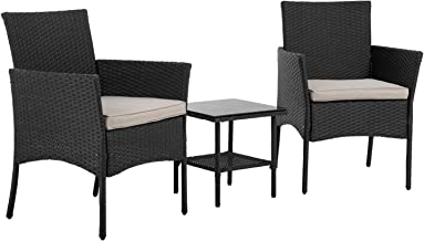 FDW Patio Furniture Sets 3 Pieces Outdoor Wicker Bistro Set Rattan Chair Conversation Sets with Coffee Table for Yard Back...