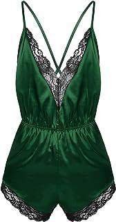 Runhomal Men's Babydoll Satin Chemise Bodysuit Lingerie Sissy Backless Crossdressing Sleepwear