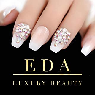 EDA Luxury Beauty Nude Pink White French 3D Ultimate Glamorous Jewel Design Press On Gel Glitter Artificial Tips Acrylic Perfect False Nails Extra Long Ballerina Coffin Square Super Fashion Fake Nails
