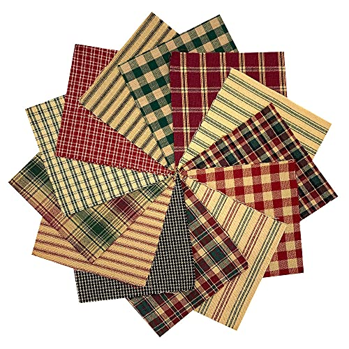 40 Rustic Christmas Charm Pack, 6 inch Precut Cotton Homespun Fabric Squares by JCS