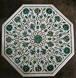 Mesa de café de mármol blanco con concha brillante de abulón y piedras preciosas de malaquita hechas con arte floral para añadir un aspecto real a tu mobiliario de hogar, 45,7 cm