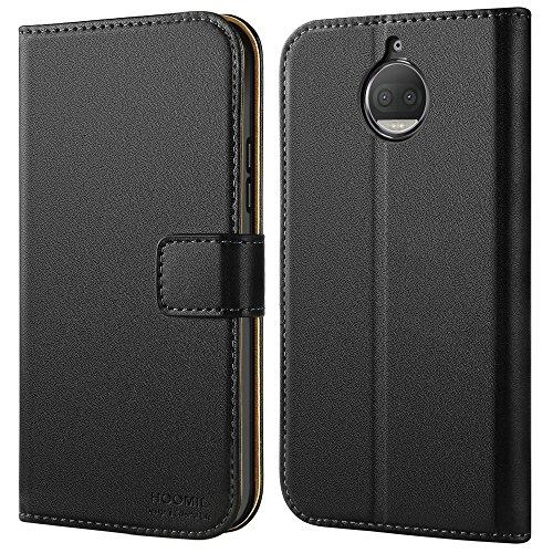 HOOMIL Handyhülle für Moto G5S Plus Hülle, Premium PU Leder Flip Schutzhülle für Motorola Moto G5S Plus Tasche, Schwarz