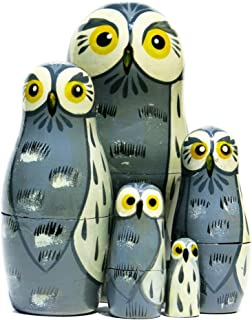 Great Grey Owls 5-Piece Russian Nesting Doll Stacking Matryoshka Set Handmade Forest Animal Wildlife Bird Babushka Toy