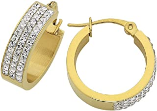 Bevilles Stainless Steel Yellow Gold Pave Crystal Hoop Earrings