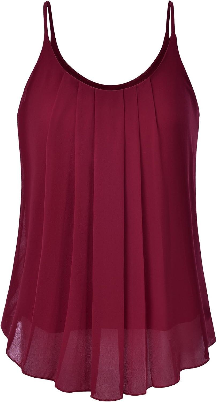 EIMIN Women's Pleated Chiffon Layered Sleeveless Cami Tank Tunic Top (S-3XL)