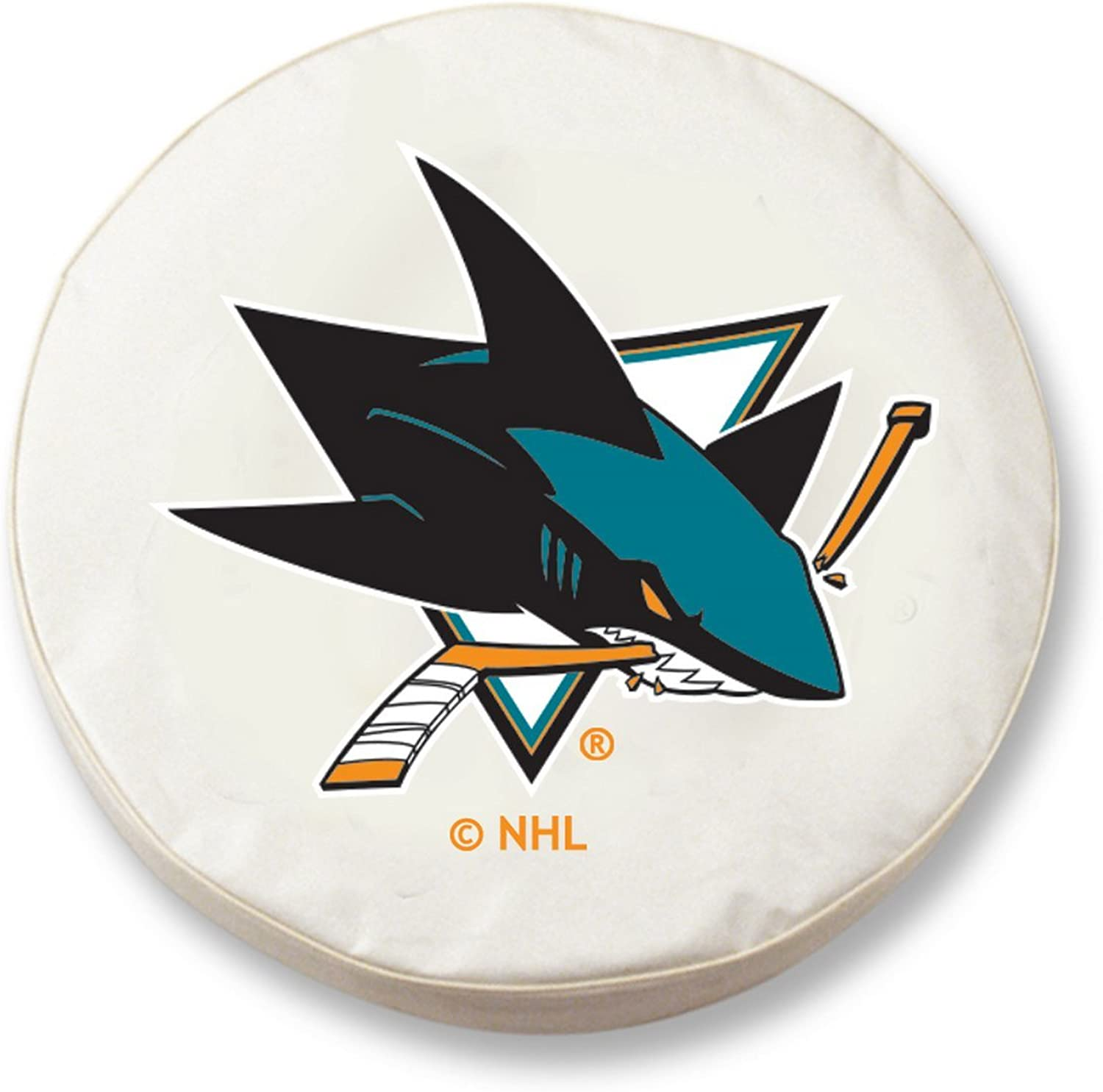 San Jose Sharks HBS White Vinyl Fitted Spare Car Tire Cover