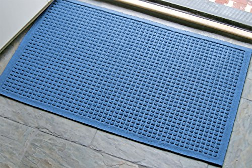 WaterHog Fashion Mat | Commercial-Grade Entrance Mat with Fabric Border – Indoor/Outdoor, Quick Drying, Stain Resistant Door Mat (Medium Blue, 2' x 3')