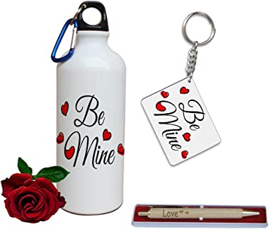TIED RIBBONS Aluminium Combo of Printed Sipper, Keychain, Wooden Engraved Pen and Artificial Red Rose