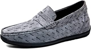 AiHua Huang Stitched Loafer for Men Boat Moccasins Casual Shoes Round Toe Slip On Genuine Lather Lightweight Cozy Breathable Manual Suture Anti Slip (Color : Gray, Size : 6.5 UK)