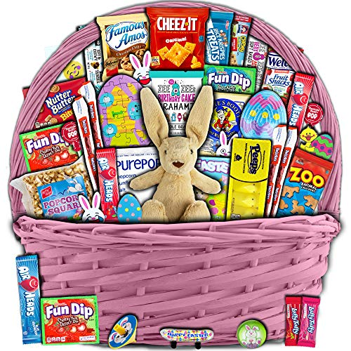 Pink Easter Basket for Kids and Adults (40ct) - Already Filled Easter Gift Basket with Plush Easter Bunny, Candy, Snacks, and Toys - Boys, Girls, Grandchildren, Young Children, Toddlers, Men, Women from Accardi Products LLC