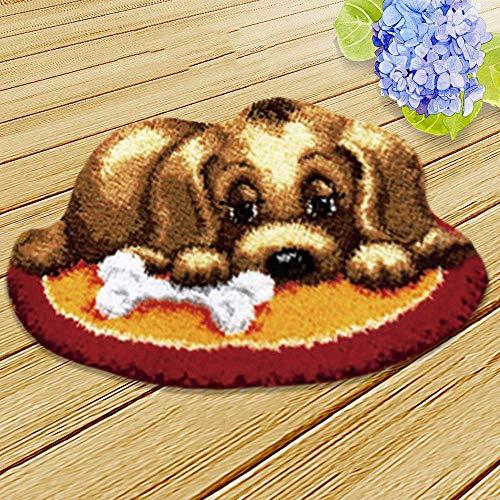 Kit de ganchillo para perro, kit de hilo de ganchillo para hacer manualidades, kit de ganchillo de costura, alfombra de ganchillo sin terminar, cojín de hilo bordado, juego de 20 x 14 pulgadas (perro)