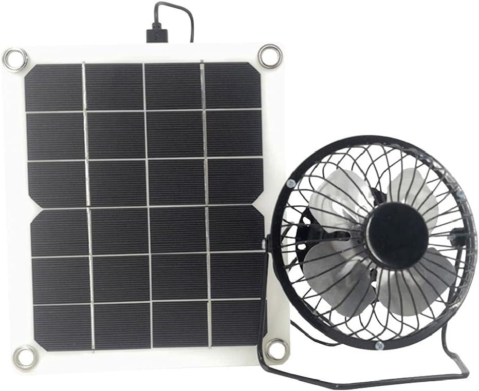 Hbao Ventilador de Escape Solar de 10W 5V Extractor de Aire Mini Ventilador Ventilador Alimentado por Panel Solar para Invernadero de casa de Pollo para Perros
