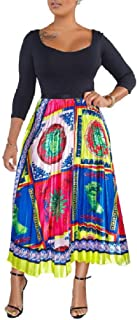 Howely Women Floral Spring Waistband Stretchy Multi-Colored Skater Skirt