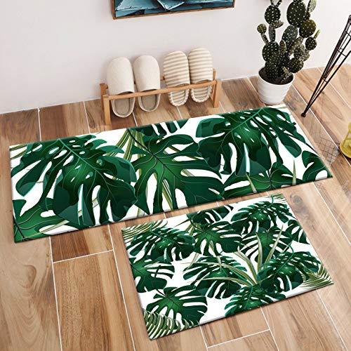 Aliyz Plantes Vertes Tropicales Feuille de Palmier Maison Porte Chambre étage Tapis Salle de Bains Chambre à Coucher Cuisine Salon Tapis Enfants antidérapant Flanelle 40x60cm