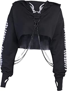 F Fityle Women Chained Long Sleeve Crop Tops Pullover Blouse Reflective Print Hoodies Sweatshirt for Rave Party Festival S...