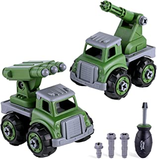 iPlay, iLearn Kids Military Vehicles, Assembly Army Toys, Take Apart Trucks W/ Screwdriver, Build Your Own Play Set, STEM Learning Gift for 3 4 5 6 Year Olds Boys Toddlers Children