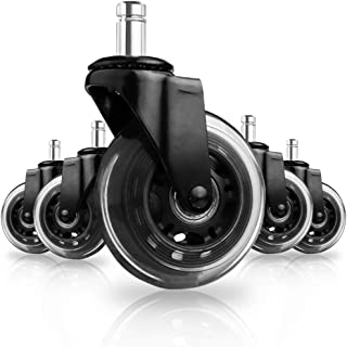"""8T8 Replacement Office Chair Caster Wheels 3"""" - Heavy Duty Soft PU Rubber Safe for Hardwood Carpet Tile Floors 5 Set Generally Applicable to Office Wheels(Black Transparent)"""