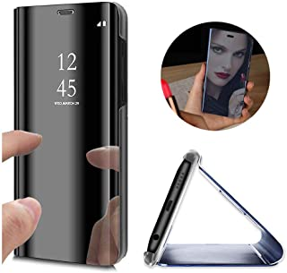 XCYYOO Coque pour Samsung Galaxy J6 2018 Plus, Brillante Miroir View Etui Flip Case Etui Housse Translucide Standing Suppo...
