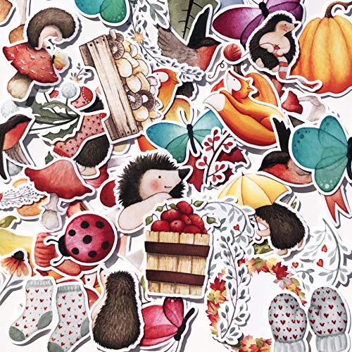Cute Forest Wild Animals Scrapbook Stickers for Kids Boys Girls Teens | Autumn Theme Style Stickers for Aesthetic journal notebook album photo | Kawaii Vibrant Fox Hedgehog Polar Bear Mushroom Maple Leaf Pumpkin (91PCS)