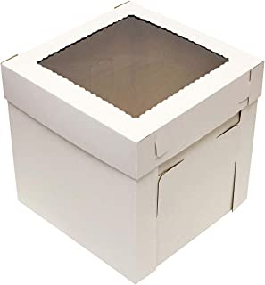 """SpecialT Cake Boxes with Window 25pk 10"""" x 10"""" x 8"""" Inch White Bakery Boxes, Disposable Cake Containers, Dessert Boxes"""