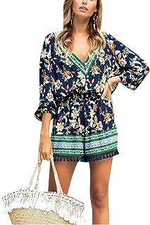 QitunC Women's V Neck Playsuit 3/4 Sleeve Tassel Printed Summer Romper Shorts Jumpsuit